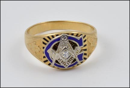 Masonic Blue Enamel and Diamond Ring in 10K Yellow and White Gold
