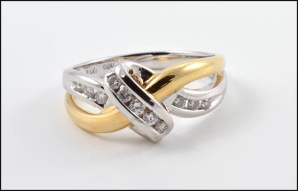 Yellow Gold Diamond Band, White Gold Cross-Over in 14K Yellow and White Gold