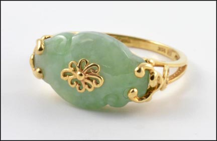 Apple Jade Oriental Style Ring in 14K Yellow Gold