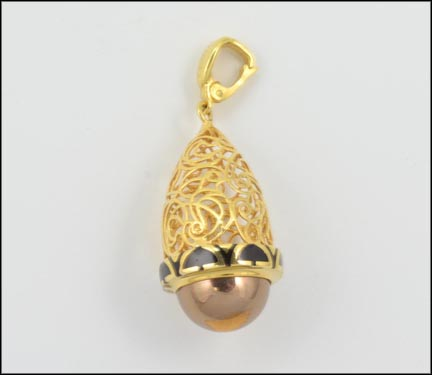 Black Enamel Filigree Dome Pendant Levian in 14K Yellow and Rose Gold