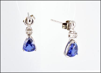 Kyanite Dangle Earrings in 10K White Gold