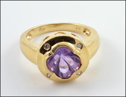 Amethyst and Diamond Ring in 14K Yellow Gold