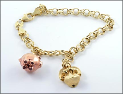 Charm Bracelet with Two Charms in 14K Yellow Gold_LARGE