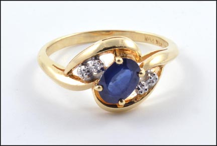 Sapphire Diamond Ring in 14K Yellow Gold LARGE