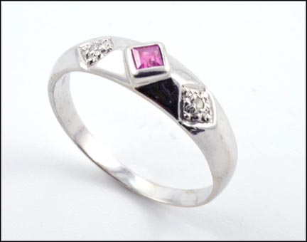 Pink Sapphire and Diamond Ring in 14K White Gold