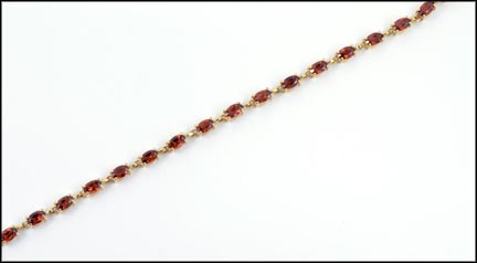 Oval Garnet Link Bracelet in 10K Yellow Gold LARGE