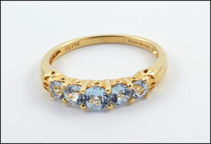 Five-Stone Blue Topaz Ring in 14K Yellow Gold
