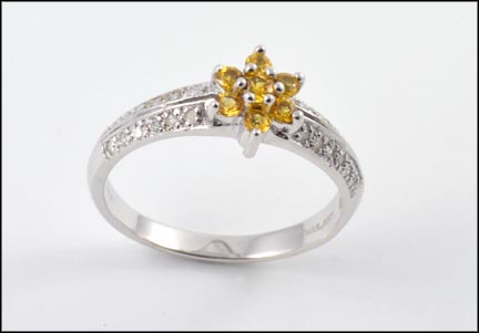 Yellow Sapphire Diamond Ring in 14K White Gold