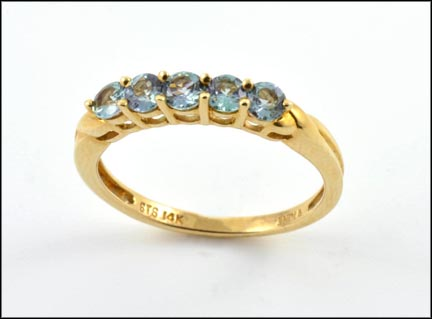 Five-Stone Blue Zircon Ring in 14K Yellow Gold