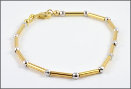 Link and Bead Bracelet in 14K Yellow and White Gold