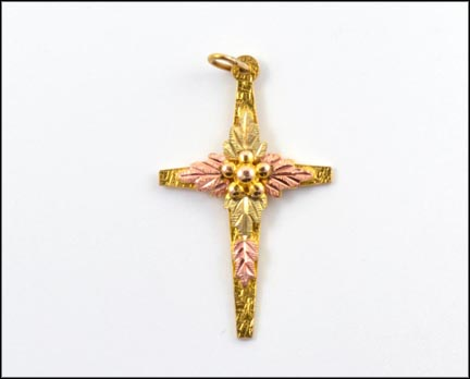 Cross Pendant in 10K Yellow and Rose Gold LARGE