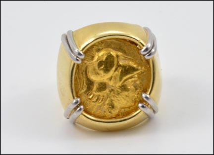 Men's Coin Ring in Yellow and White Gold