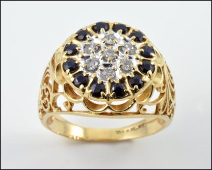 Men's Sapphire and Diamond Cluster Ring in 10K Yellow Gold