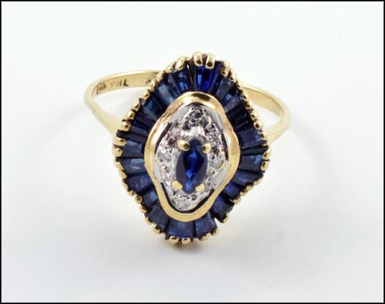 Marquise and Baguette Cut Sapphire and Diamond Ring in 10K Yellow Gold LARGE