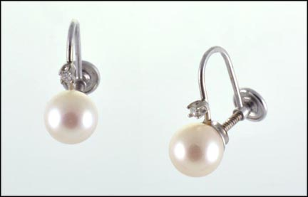 7 mm Pearl Screwback Earrings in 14K White Gold
