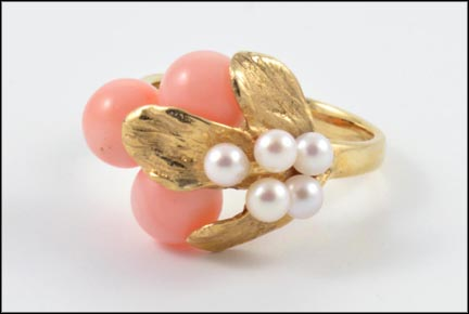 Coral and Pearl Leaf Ring in 14K Yellow Gold LARGE