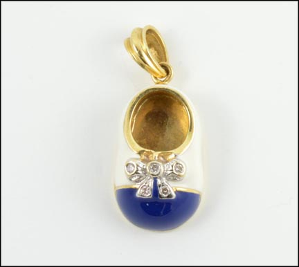 Blue and White Enamel Diamond Bow Baby Shoe Pendant in Yellow Gold LARGE
