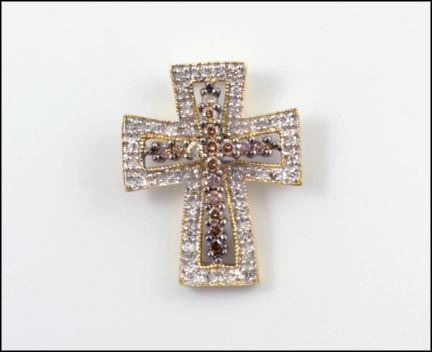 Champaign and White Diamond Cross Pendant in 14K Yellow and White Gold LARGE