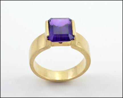 Emerald Cut Amethyst Ring in 14K Yellow Gold