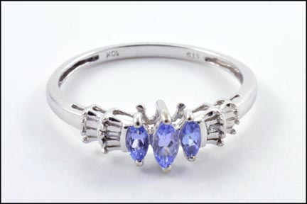 Marquise Cut Tanzanite and Diamond Ring in 10K White Gold LARGE