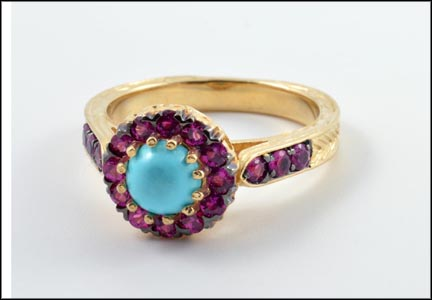 Turquoise Sapphire Ring in 14K Yellow Gold