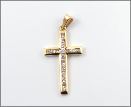 Channel Set Diamond Cross Pendant in 14K Yellow Gold LARGE