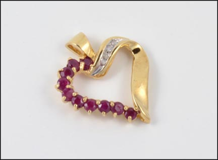 Ruby Heart Pendant in 10K Yellow Gold