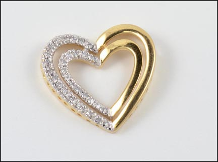 Double Heart Pendant in 14K Yellow Gold