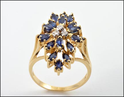 Marquise Cut Kyanite Cluster Ring in 14K Yellow Gold