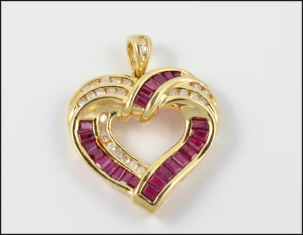 Baguette Ruby Heart Pendant in Yellow Gold