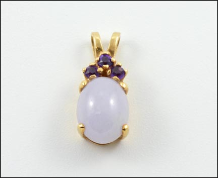 Oval Jadeite with Amethyst Pendant in 14K Yellow Gold