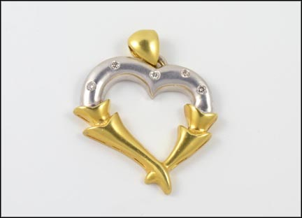 Levian Heart Pendant in 18K Yellow and White Gold
