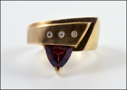 Trillion Cut Garnet Diamond Ring in 14K Yellow Gold LARGE