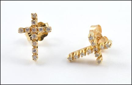 Cross Stud Earrings in 14K Yellow Gold