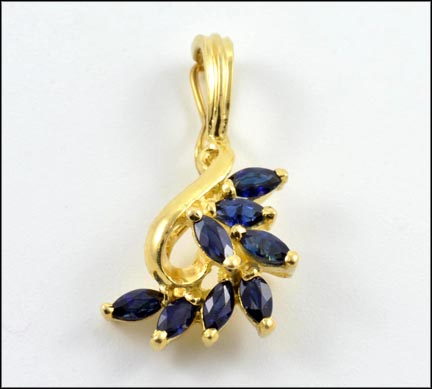 Marquise Cut Sapphire Pendant or Enhancer in 14K Yellow Gold