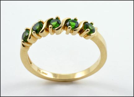 Round Brilliant Cut Five-Stone Green Garnet Ring in 14K Yellow Gold
