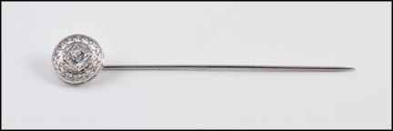 Synthetic Stone Stick Pin in 18K White Gold