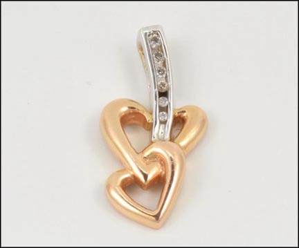 Channel Heart Pendant in 14K Rose and White Gold