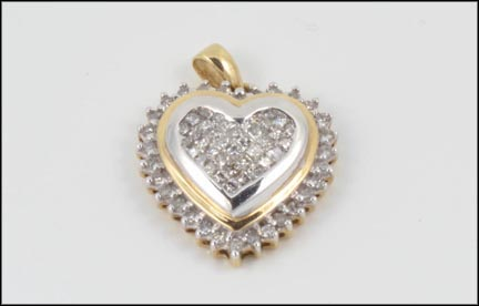 Heart Pendant in 10K Yellow and White Gold