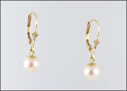 6 mm Pearl Leverback Earrings in 14K Yellow Gold