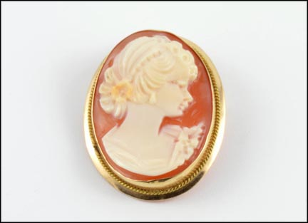 Cameo Pendant or Brooch in 14K Yellow Gold