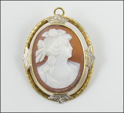 Brown Cameo Pendant or Brooch in 14K Yellow and White Gold LARGE