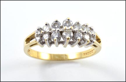 Double Row Round Brilliant Cut Pyramid Ring in 14K Yellow Gold