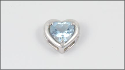 Blue Topaz Heart Pendant in 10K White Gold