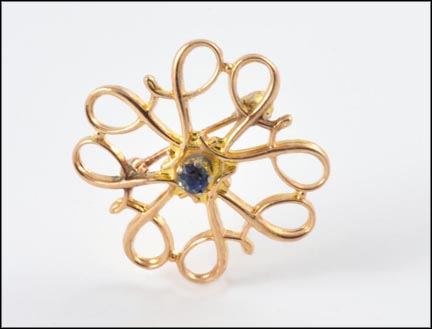 Round Sapphire Center Stone Swirl Brooch in 10K Yellow Gold