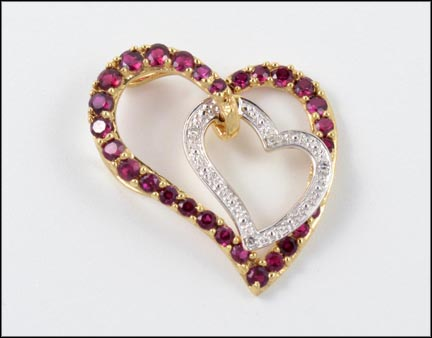 Synthetic Ruby Heart Pendant in 10K Yellow Gold