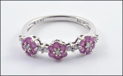 Three Pink Sapphire and Diamond Flower Ring in 14K White Gold LARGE