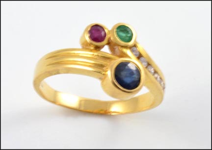 Emerald, Ruby, Sapphire and Diamond Ring in 20K Yellow Gold