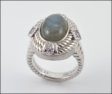 Oval Laboradorite Judith Ripka Ring in Sterling Silver