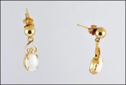 Oval Opal Drop Earrings in Yellow Gold